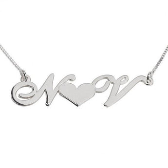 Silver Sterling  Initials with heart Necklace - My Boho Jewelry