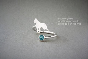 Adjustable Spiral BOSTON TERRIER BIRTHSTONE Ring / Boston Terrier Birthstone Ring / Birthstone Ring / Dog Ring - My Boho Jewelry
