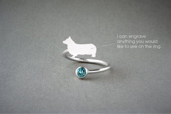 Adjustable Spiral PEMBROKE WELSH CORGI Birthstone Ring / Corgi Birthstone Ring / Birthstone Ring / Dog Ring - My Boho Jewelry