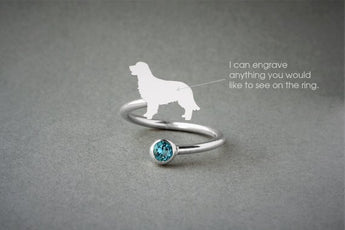 Adjustable Spiral GOLDEN RETRIEVER Ring / Golden Retriever Birthstone Ring / Birthstone Ring / Dog Ring - My Boho Jewelry