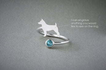 Adjustable Spiral JACK RUSSELL BIRTHSTONE Ring / Jack Russell Birthstone Ring / Birthstone Ring / Dog Ring - My Boho Jewelry