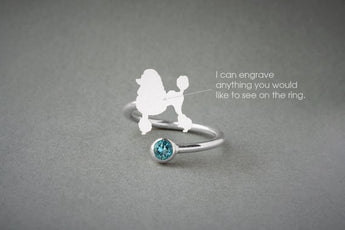 Adjustable Spiral POODLE BIRTHSTONE Ring / Poodle Birthstone Ring / Birthstone Ring / Dog Ring