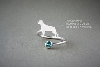 Adjustable Spiral ROTTWEILER BIRTHSTONE Ring / Rottweiler Birthstone Ring / Birthstone Ring / Dog Ring - My Boho Jewelry