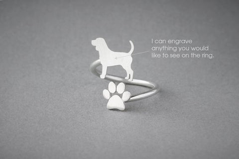 BEAGLE-PAW Spiral Ring  Beagle Name Ring  Paw Ring  Custom Ring  Dog Gift  Dog Ring  Beagle Gift - My Boho Jewelry