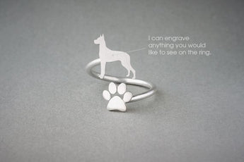 Adjustable Spiral GREAT DANE and PAW Ring / Great Dane Ring / Paw Ring /Dog Ring / Silver, Gold Plated or Rose Plated.