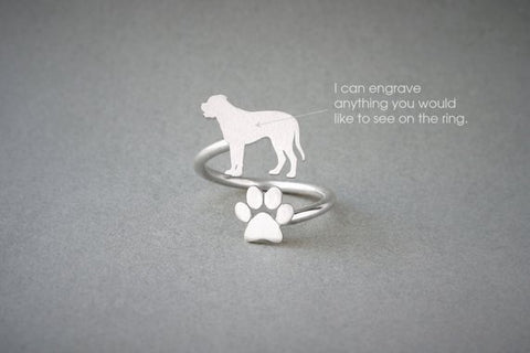 Adjustable Spiral MASTIFF and PAW Ring / English Mastiff Ring / Paw Ring /Dog Ring / Silver, Gold Plated or Rose Plated.