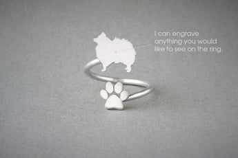 Adjustable Spiral POMERANIAN and PAW Ring / Pomeranian Ring / Paw Ring /Dog Ring / Silver, Gold Plated or Rose Plated.