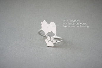 Adjustable Spiral SAMOYED and PAW Ring / Samoyed Ring / Paw Ring /Dog Ring / Silver, Gold Plated or Rose Plated.