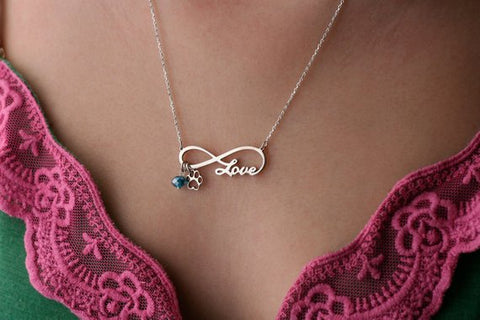 INFINITY PAW LOVE Necklace - Paw Love Jewelry - Name Necklace - Custom Necklace - New Puppy - Dog Necklace - Cat Necklace - My Boho Jewelry