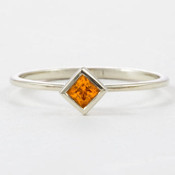 Antique Engagement Ring Orange Mandarin Ring Pointy Engagement Ring Boho Engagement Ring Vintage Band Thin Gold Band Knuckle Ring