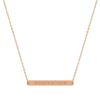 Latitude Longitude Coordinate 2 inch Bar Pendant Center Bar in 18k Rose Gold Plated 925 Sterling Silver - My Boho Jewelry