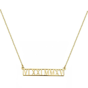 Roman Numerals Necklace 1.5 inch Name Bar Pendant in 18k Yellow Gold Plated 925 Sterling Silver - My Boho Jewelry