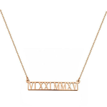 Roman Numerals Necklace 1.5 inch Name Bar Pendant in 18k Rose Gold Plated 925 Sterling Silver - My Boho Jewelry