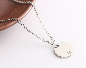 Silver Disc Name Necklace, Personalized Initials Monogram Disc Necklace, Simple Gold Necklace, Personalized Gift Idea - My Boho Jewelry