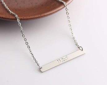 Engraved Necklace, Silver Bar Necklace, Initial Bar, Engravable bar, Nameplate bar, Custom Name necklace - My Boho Jewelry