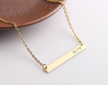 Initial Gold Bar Necklace, Name necklace, Horizontal bar pendant, Monogrammed Name bar, Gift for her - My Boho Jewelry