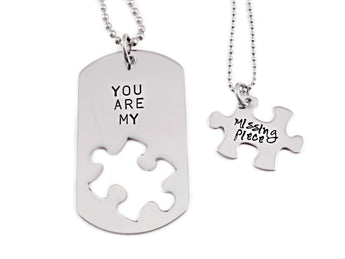 You Are My Missing Piece - Couple Necklace Set of 2 - Engraved Stainless Steel - Dog Tag and Puzzle Necklaces -Anniversary - Couple - 1176 - My Boho Jewelry
