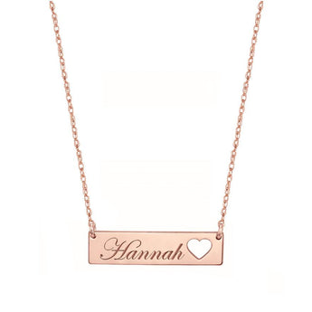 Engravable Rose Gold Bar Necklace 1.25 inch, Name Bar With Heart in 18k Rose Gold Plated 925 Sterling Silver - My Boho Jewelry