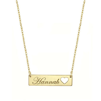 Engravable Gold Bar Necklace 1.25 inch, Name Bar With Heart in 18k Yellow Gold Plated 925 Sterling Silver - My Boho Jewelry