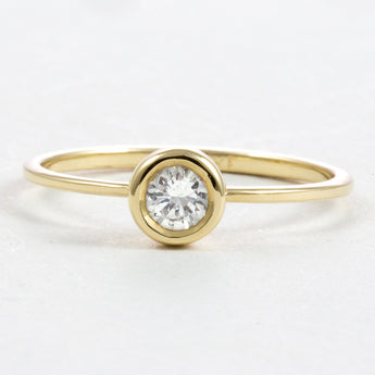 Elegant and Simple Diamond Ring - Engagement Gold Ring - 0.25 Carat Round Diamond - 14k Solid Gold. - My Boho Jewelry