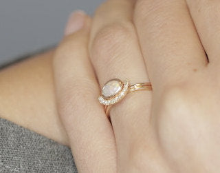 Solid Gold Opal Engagement Ring, 14K Gold White Opal and Diamond Bridal Wedding Set - 0.07 Carat Round Diamonds. - My Boho Jewelry