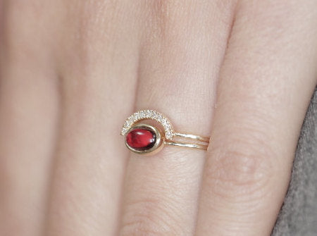 Garnet and Diamond ring stuckable ring garnet engagement ring with diamonds 35 birthday gift ring - My Boho Jewelry