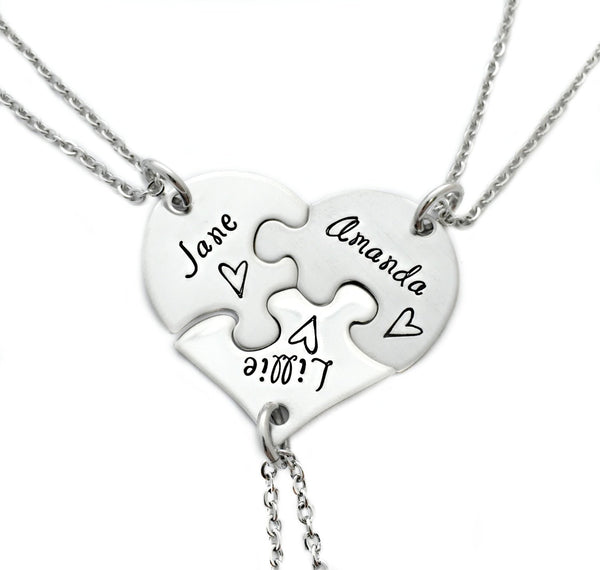 Best Friends Sisters Puzzle Piece Heart Necklace Set of 3 - Sterling Silver - My Boho Jewelry