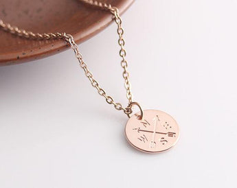 Personalized Rose Gold Disc Necklace, Mother's Gift Idea, Compass Necklace Jewelry, Wedding, Bridesmaid Necklace - My Boho Jewelry