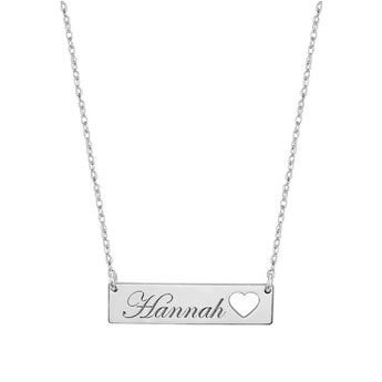 Engravable Name Bar Necklace 1.25 inch, Name Bar With Heart in 925 Sterling Silver - My Boho Jewelry
