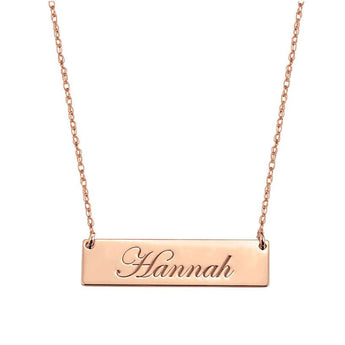 Engravable 1.25 inch Name Bar Necklace in 18k Rose Gold Plated 925 Sterling Silver - My Boho Jewelry