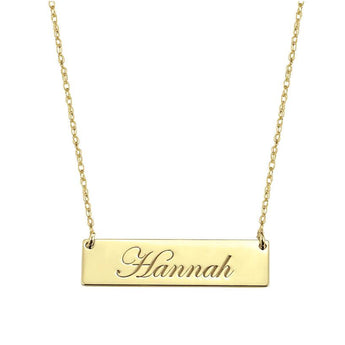 Engravable 1.25 inch Name Bar Necklace in 18k Yellow Gold Plated 925 Sterling Silver - My Boho Jewelry