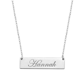 Engravable 1.25 inch Name Bar Necklace in 925 Sterling Silver - My Boho Jewelry