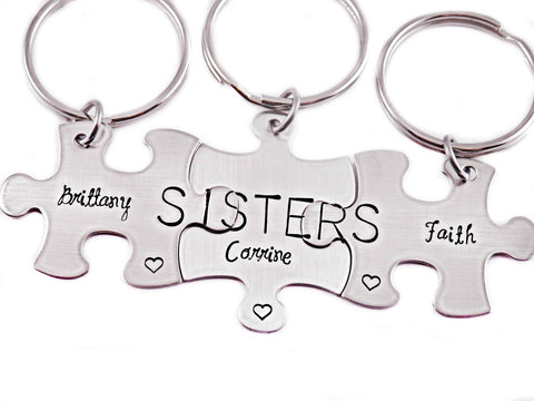 Personalized Sisters Puzzle Piece Set of 3 - Engraved Keychain - Sisters Key Chain Gift Set - Personalized Gift Sisters - Customized - 1078 - My Boho Jewelry