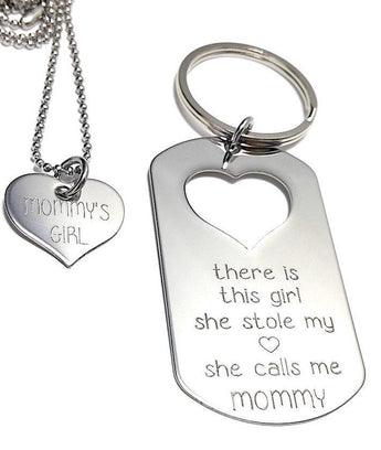 There is this Girl who stole my heart She calls me MOMMY - Keychain, Necklace Set - Keychain Set - Engraved Tag