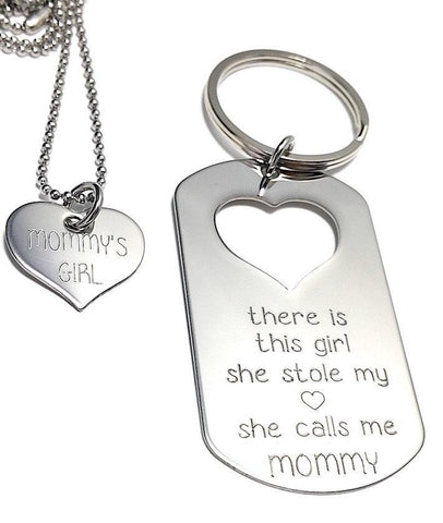 There is this Girl who stole my heart She calls me MOMMY - Keychain, Necklace Set - Keychain Set - Engraved Tag - My Boho Jewelry