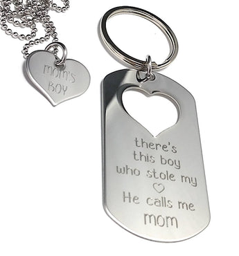 There is this BOY who stole my heart He calls me MOM - Sterling Silver Keychain, Necklace Set - My Boho Jewelry