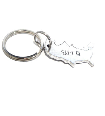 CUSTOM Long Distance Relationship sterling silver KEYCHAIN - USA - add your own Initial's - Country Outline - Long Distance Key Ring - United States Keyring - My Boho Jewelry