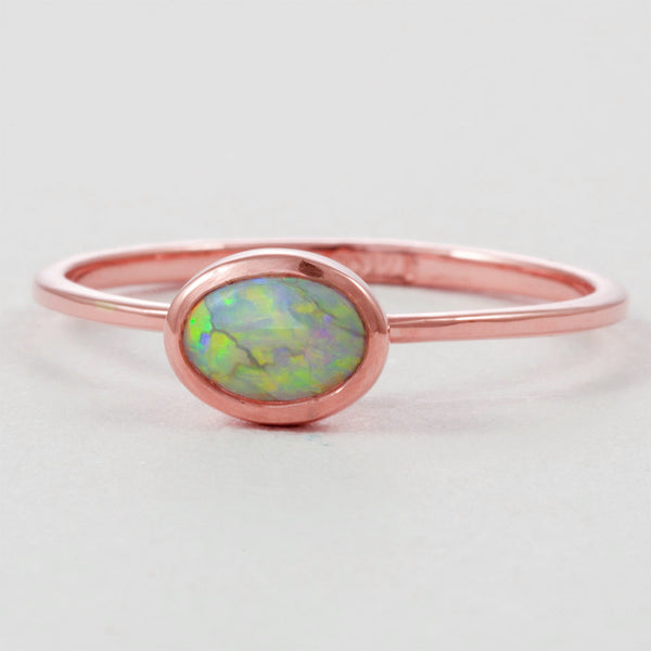 Rose Gold Opal Engagement Ring 14K Rose Gold Opal Engagement Ring Rose Gold Opal Engagement Ring 14K Rose Gold Engagement Ring Opal - My Boho Jewelry