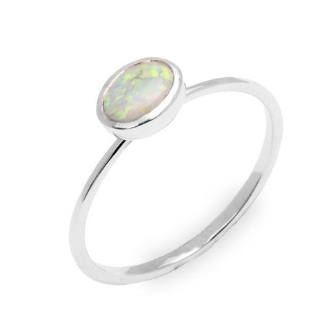 Silver Opal Ring Sterling Silver Opal Engagement Ring Sterling Silver Engagement Ring Christmas Gift For Friend - My Boho Jewelry