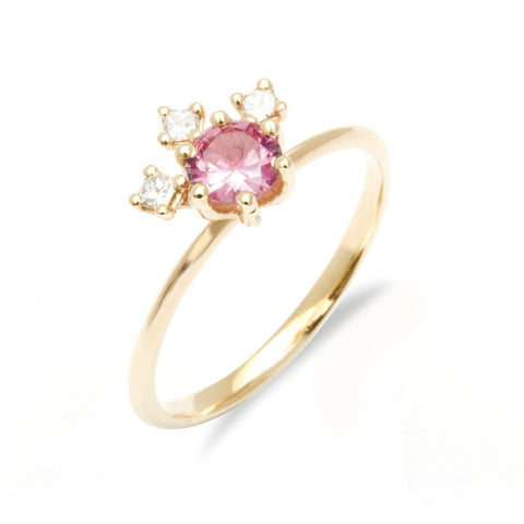 Pink sapphire and diamond engagement ring diamond and pink sapphire engagement ring purple sapphire ring cocktail engagement ring cluster - My Boho Jewelry