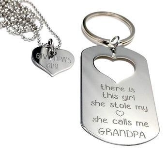 There is this Girl who stole my heart She calls me GRANDPA - Keychain, Necklace Set - Mother's Day Gift -