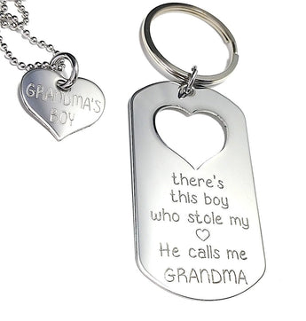 There is this BOY who stole my heart He calls me GRANDMA - Sterling Silver Keychain, Necklace Set - Keychain Set - My Boho Jewelry