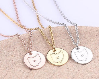 Personalized Ohio necklace, Rose Gold State Jewelry Map Pendant, Gold Ohio Disc Charm Necklace, Christmas, Valentines Gift - My Boho Jewelry