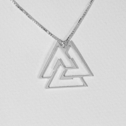 Valknut Geometric Necklace 925 Sterling Silver, Dainty Necklace ,Geometrical Necklace,holy trinity, Gold Plated available - My Boho Jewelry