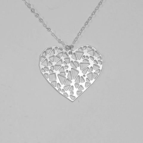 Big geometric heart necklace 925 sterling silver -  love necklace silver heart sterling heart dainty heart silver heart pendant silver - My Boho Jewelry