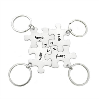Best Friend Keychain For 4 Puzzle Piece Keychains - My Boho Jewelry