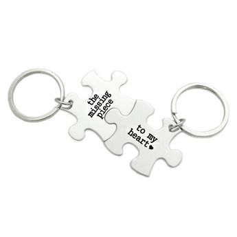 The Missing Piece To My Heart Puzzle Piece Key Chain Set of 2 - Engraved Stainless Steel - Couple Key Chain Set - Puzzle Keychains - 1012 - My Boho Jewelry