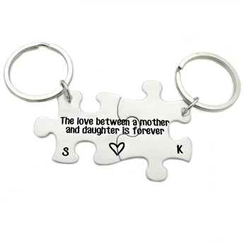 Mother Daughter Puzzle Piece Key Chain Set - Engraved Keychains - The Love Between a Mother and Daughter - Mom and Daughter Puzzle - 1072 - My Boho Jewelry
