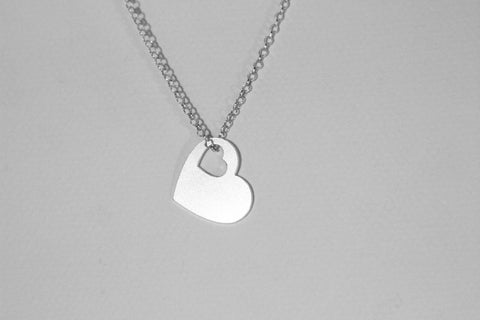925 Sterling Silver heart shape pendant ,Geometrical Necklace, Gold Plated available - My Boho Jewelry