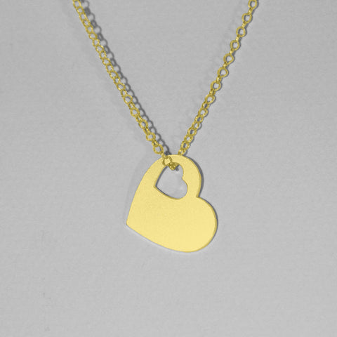 Gold Plated heart shape pendant ,Geometrical Necklace, Heart Necklace, Love Necklace, Friendship Necklace - My Boho Jewelry